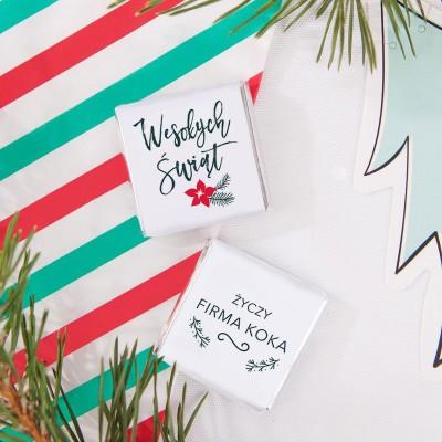 CZEKOLADKI świąteczne z nazwą firmy Merry Christmas 10szt