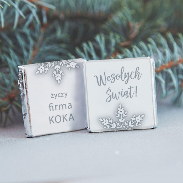 CZEKOLADKI świąteczne z nazwą firmy Snowland 10szt