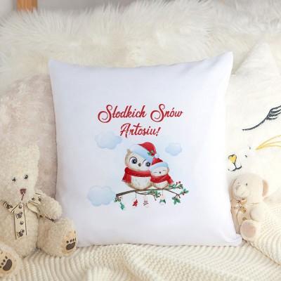 PODUSZKA na prezent świąteczny dla dziecka Z IMIENIEM Sówki