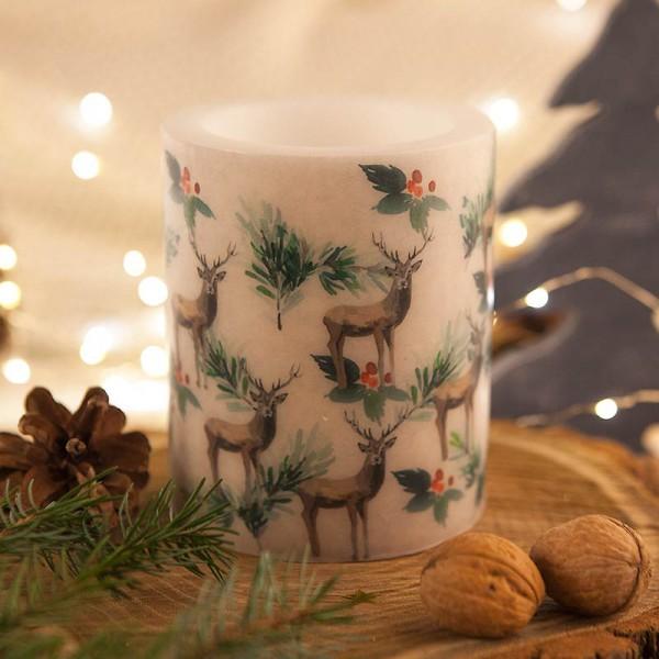 ŚWIECA/LAMPION świąteczna EKO Renifery 10x12cm