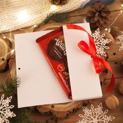 PUDEŁKO na czekoladę prezent firmowy Czerwone Święta (+wstążka)