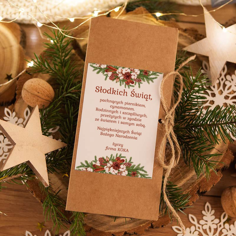 Pudełko na czekoladę z życzeniami świątecznymi