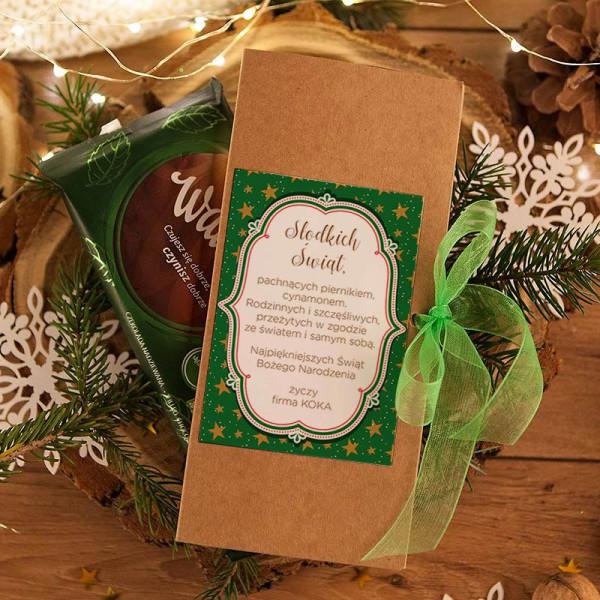 PUDEŁKO na czekoladę prezent firmowy kraft Zielone Święta (+sznurek)