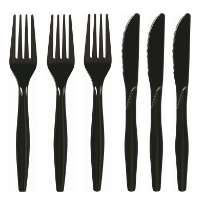 SZTUĆCE plastikowe widelce + noże CZARNE 10kpl