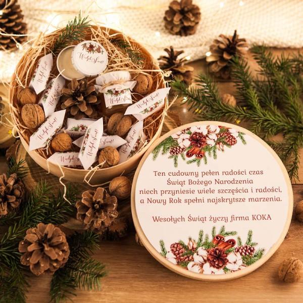 KOSZ prezentowy świąteczny firmowy w pudełku Z NAZWĄ Naturalne Święta