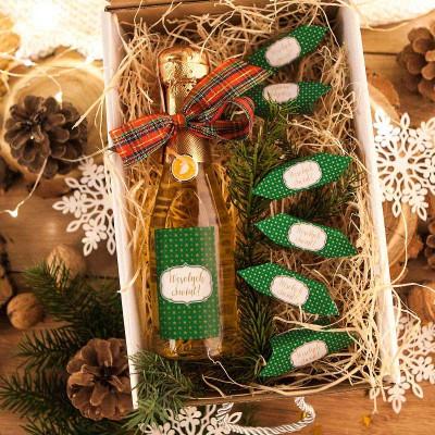 KOSZ prezentowy świąteczny Szampan+krówki Z NAZWĄ Zielony
