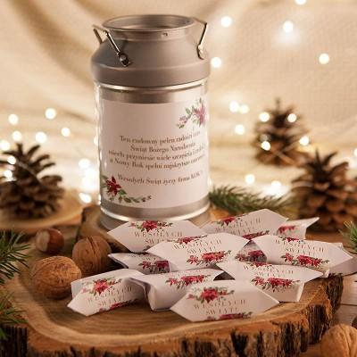 PREZENT świąteczny Kanka z krówkami Z NAZWĄ Poinsecja