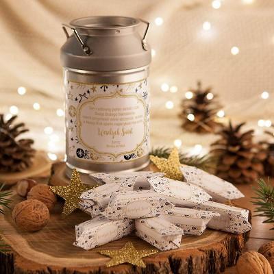 PREZENT świąteczny Kanka z krówkami Z NAZWĄ Bombki i Gwiazdki
