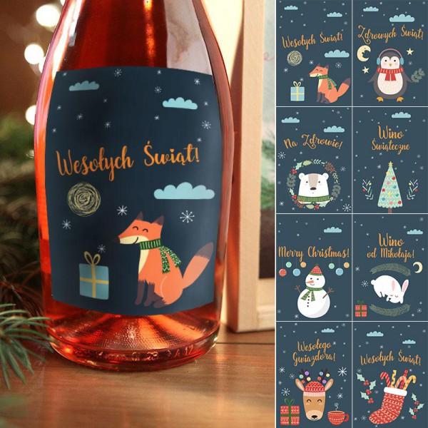 ETYKIETY na butelki świąteczne Winter Time komplet 8szt