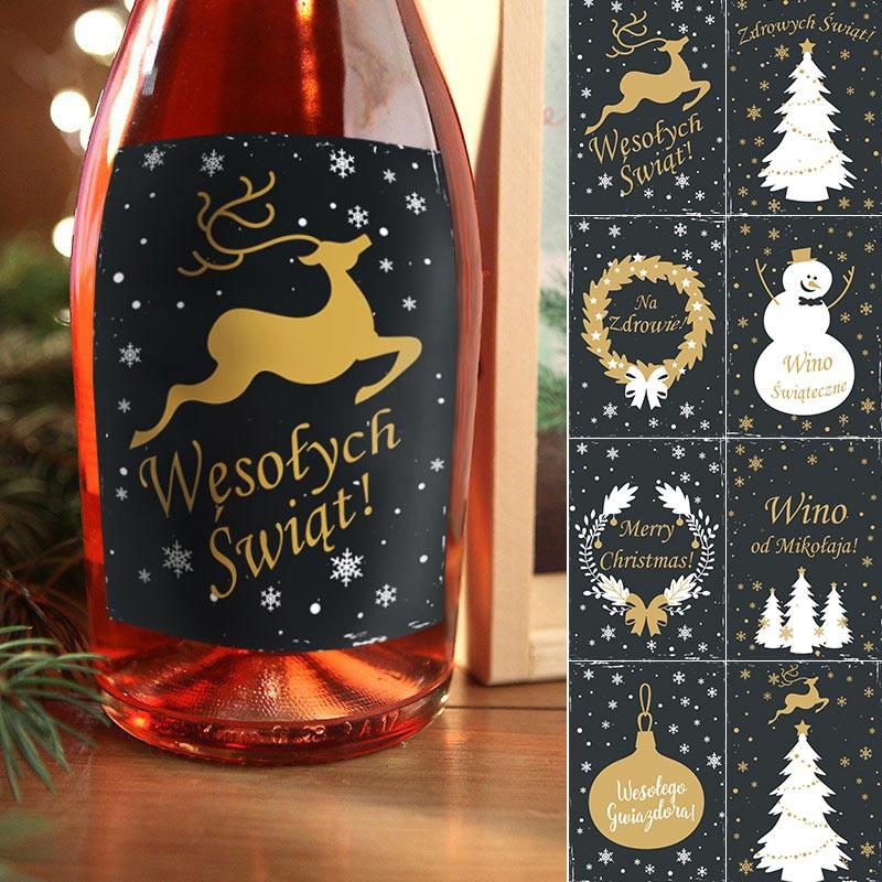 Etykiety na butelki świąteczne w odcieniach czerni i złota