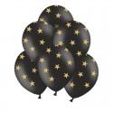BALONY na panieński czarne w złote gwiazdki 30cm 6szt