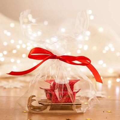PREZENT świąteczny Sanki z krówkami Bombki i Gwiazdki