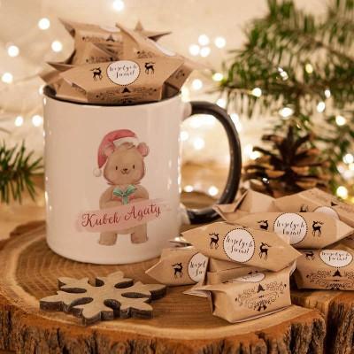 PREZENT świąteczny Kubek+krówki Z IMIENIEM Niedźwiadek