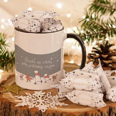 PREZENT świąteczny Kubek+krówki Z IMIENIEM Święta są wtedy