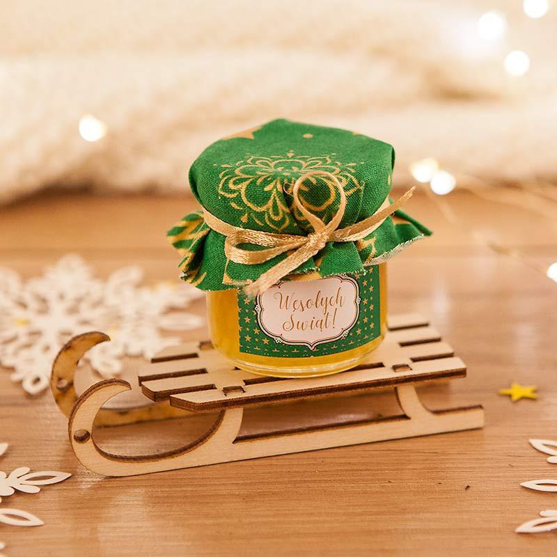 Prezent świąteczny miód na saneczkach Wesołych Świąt