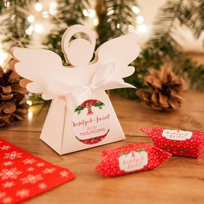 PUDEŁECZKA Aniołek prezent świąteczny Czerwone Święta 10szt (+etykiety+wstążka)