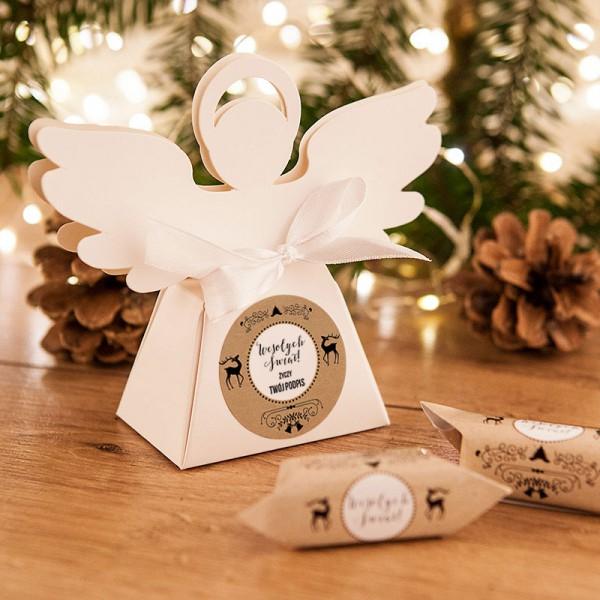 PUDEŁECZKA Aniołek prezent świąteczny Zimowy Wieczór 10szt (+etykiety+wstążka)
