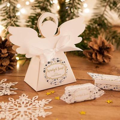 PUDEŁECZKA Aniołek prezent świąteczny Bombki i Gwiazdki 10szt (+etykiety+wstążka)