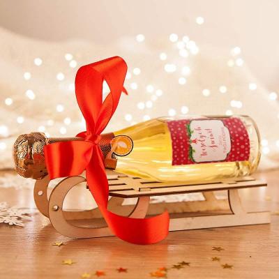 PREZENT świąteczny Szampan na sankach Czerwone Święta (+opakowanie)