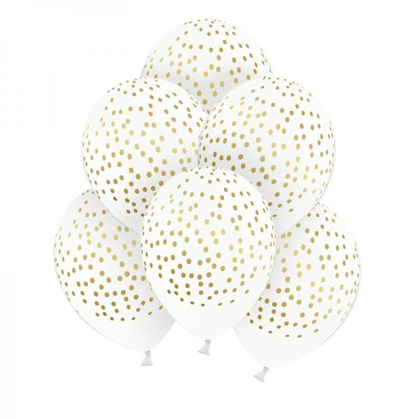BALONY dekoracyjne Gold Dots 30cm 6szt