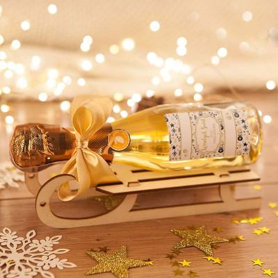 PREZENT świąteczny Szampan na sankach Bombki i Gwiazdki (+opakowanie)