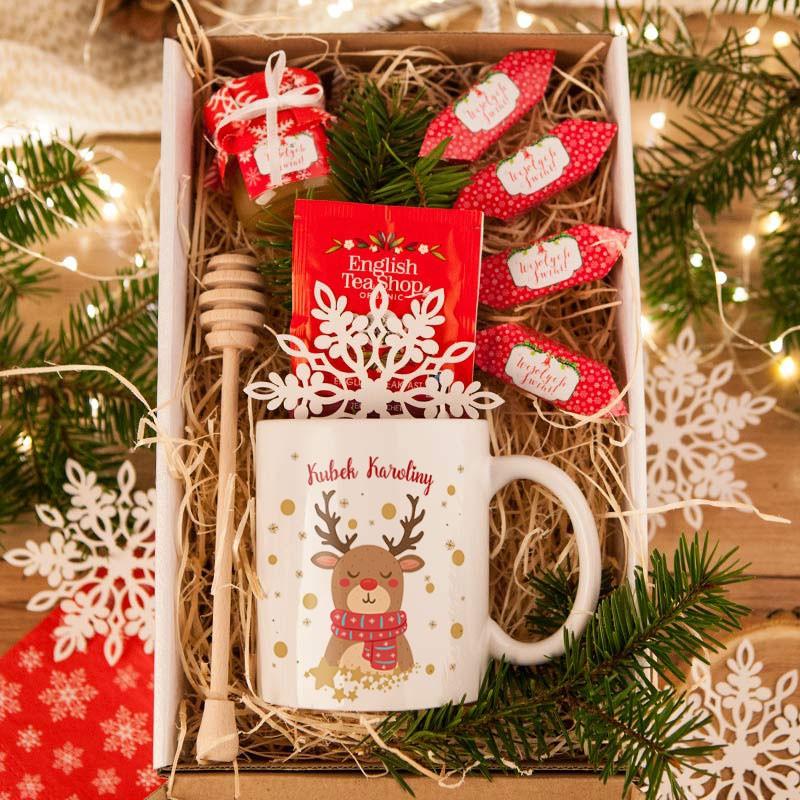 Prezent świąteczny kubek + miód + krówki z imieniem