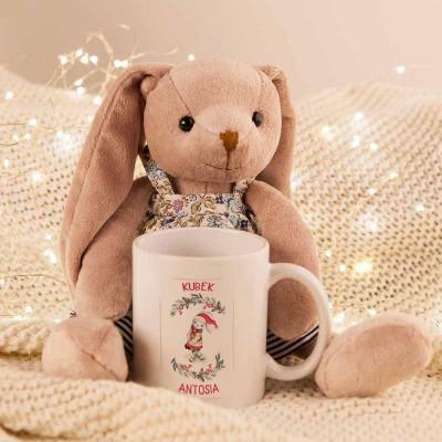 PREZENT świąteczny dla dziecka Maskotka+Kubek Z IMIENIEM Zając