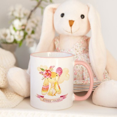 KUBEK na prezent świąteczny dla dziecka Różowy Króliczek Z IMIENIEM