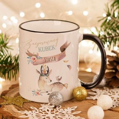 KUBEK na prezent świąteczny dla dziecka Boho Jelonek Z IMIENIEM