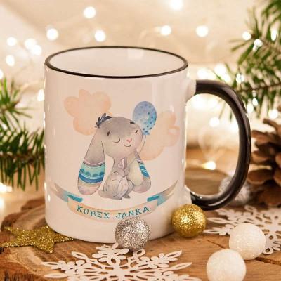 KUBEK na prezent świąteczny dla dziecka Niebieski Króliczek Z IMIENIEM