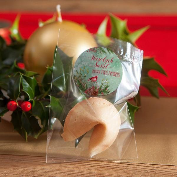 CIASTECZKA świąteczne z wróżbą Z TWOIM PODPISEM Zimowy Ptaszek 10szt