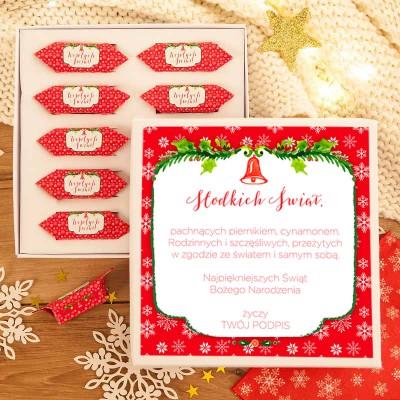 PREZENT świąteczny Pudełko z krówkami Z TWOIM PODPISEM Czerwone Święta