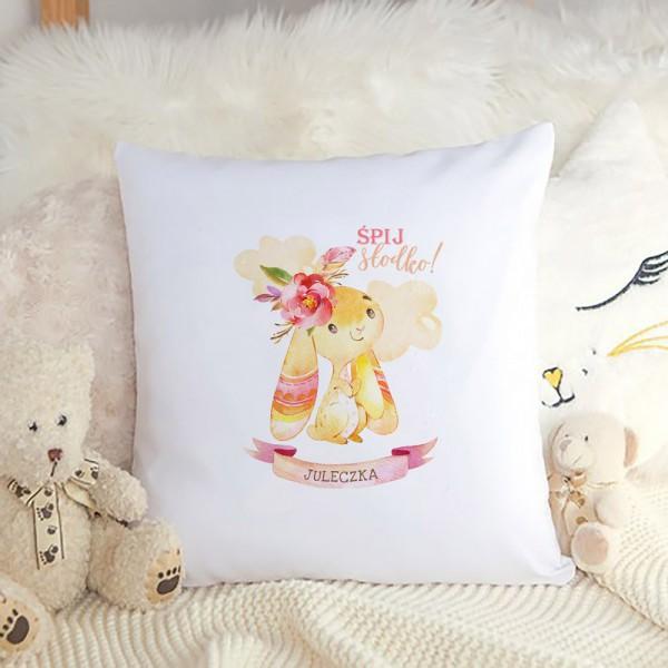 PODUSZKA na prezent świąteczny dla dziecka Z IMIENIEM Różowy Króliczek dla dziewczynki