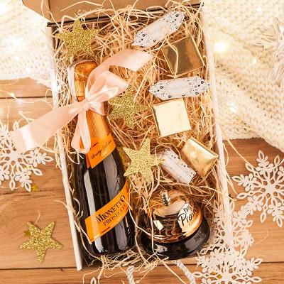 KOSZ prezentowy świąteczny z Prosecco Z TWOIM NADRUKIEM