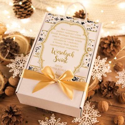KOSZ prezentowy świąteczny z Prosecco i dzwonkiem Z TWOIM NADRUKIEM