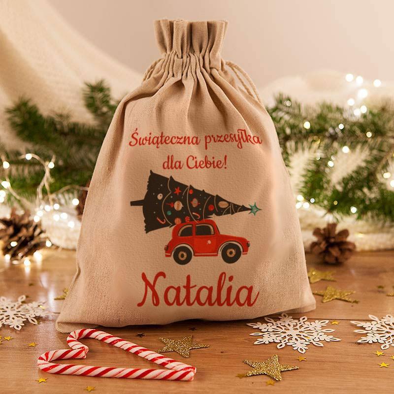 Worek na prezenty świąteczne z nadrukiem imienia