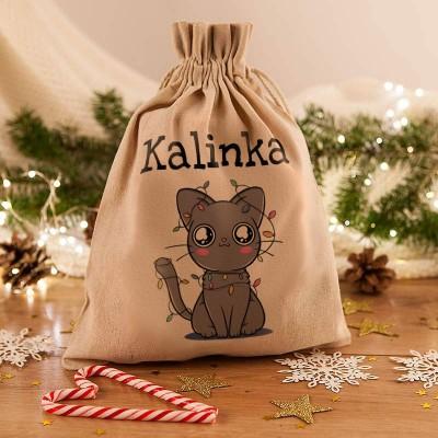 WOREK na prezenty świąteczne lniany Z IMIENIEM Kotek 26x35cm