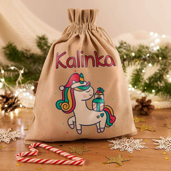 WOREK na prezenty świąteczne lniany Z IMIENIEM Jednorożec 26x35cm