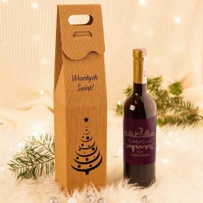 PREZENT świąteczny wino porzeczkowe w opakowaniu Z TWOIM PODPISEM