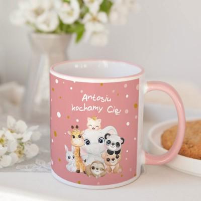 KUBEK na prezent świąteczny dla dziecka Z TWOIM ZDJĘCIEM Zwierzaki