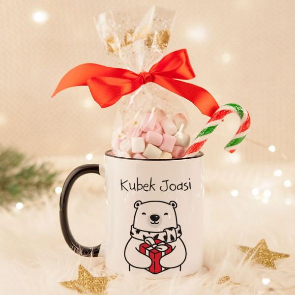 KUBEK świąteczny na prezent + pianki Marshmallow Z IMIENIEM Miś