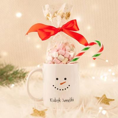 KUBEK świąteczny na prezent + pianki Marshmallow Z IMIENIEM Bałwanek
