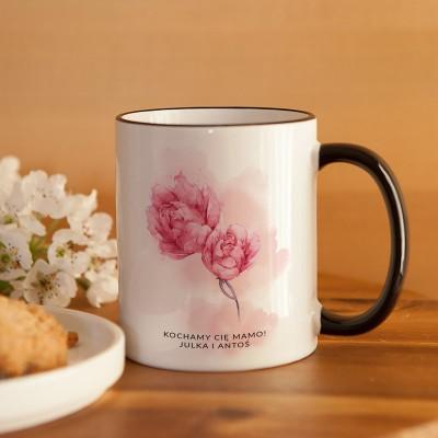 PREZENT świąteczny dla Mamy kubek Kwiaty 330ml Z IMIENIEM