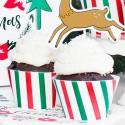 FOREMKI papilotki na muffinki czerwono-zielone paseczki 6szt