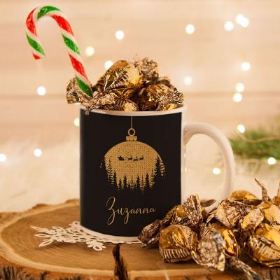KUBEK świąteczny na prezent + cukierki Z IMIENIEM Eleganckie Święta W OPAKOWANIU