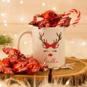 KUBEK świąteczny na prezent + cukierki Z IMIENIEM Renifer W OPAKOWANIU