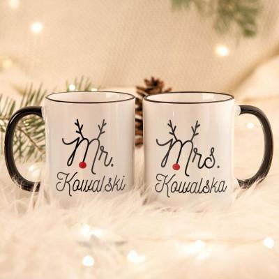 KUBKI świąteczne dla par na prezent Mr&Mrs Z TWOIM PODPISEM