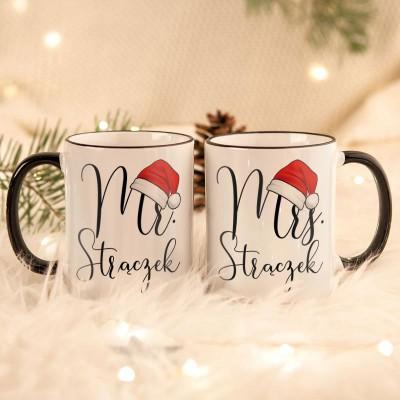 KUBKI świąteczne dla par na prezent Mikołaje Z TWOIM PODPISEM
