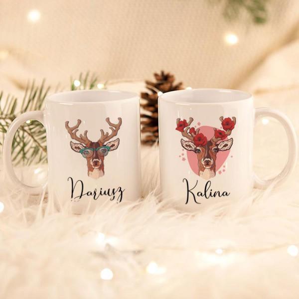 KUBKI świąteczne dla par na prezent Zimowy Czas Z TWOIM PODPISEM