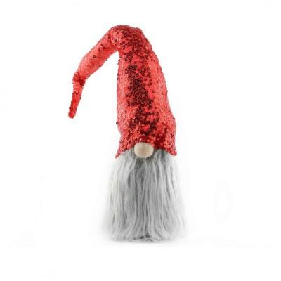 SKRZAT krasnal świąteczny z cekinową czapką MEGA DUŻY 40cm Czerwony